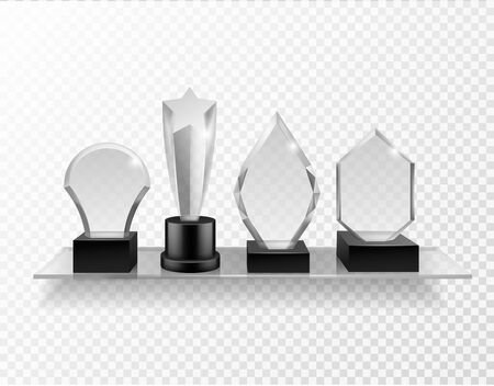 Glass award on shelf. Realistic different champion prizes on glass shelving, winner trophy shiny glass awards, sport achievement vector set of transparency crystal trophies