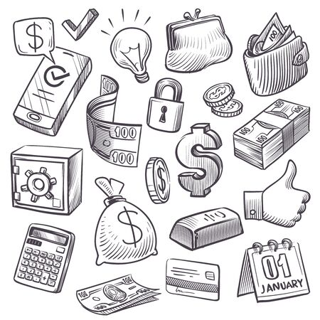 Money and finance sketch. Gold bars, treasure chest and bank safe, dollars sack and falling coins, bills and wallet hand drawn icons vector investment doodles set 向量圖像