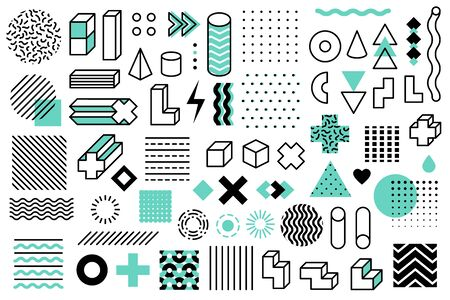 Geometric shapes. Graphic universal memphis style symbols. Lines circle, grid and points, triangle and cubes design elements vector ornament stripes set