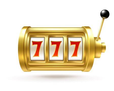 Maquina de casino. El premio mayor de Lucky Seven, el número ganador de la fortuna del bingo, el carrete giratorio y la manija. Símbolo de vector de casino de juego de bandido de un brazo del concepto de ganadores de juegos