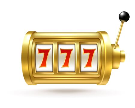 Slot machine. Lucky sevens jackpot, winning number bingo fortune, spinning reel and handle. One-armed bandit gambling casino vector symbol of gaming winners concept 向量圖像