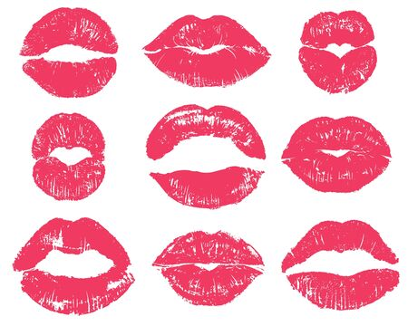 Lipstick kiss. Sexy woman red lips print. Female mouth makeup silhouettes, love smooches romantic valentines isolated vector girl kissing set