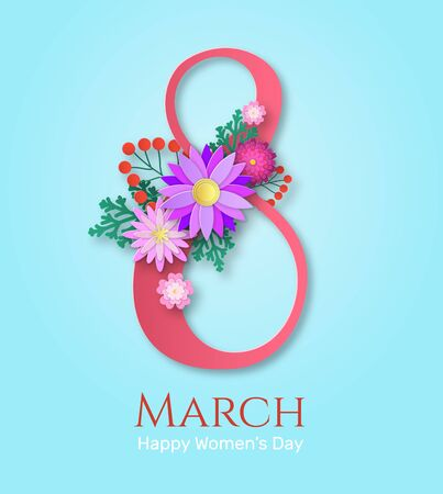 Womens day greeting card. Papercut blooming flowers bouquet with happy 8th march international ladies date text. Vector romantic flyer for celebration and invitation postcard concept 向量圖像
