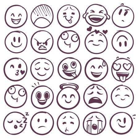 Doodle emoticons. Emoji with different expression of angry, happy and sad. Funny sketch faces for messages with smiling and crying vector outline emotion set 向量圖像