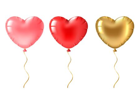 Heart balloon. Cute gold, pink and red heart shaped balloons decor, valentines day design element for romantic greeting card 3d vector flying foil ball set 向量圖像