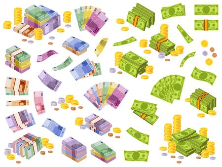 Dollar and euro banknotes. Isometric cash money, various currencies dollars and euros bundles and coins 3d financial awards vector different currency investment payment set 向量圖像