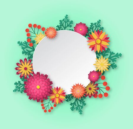 Womens day greeting card. Paper flowers origami bouquet composition with empty round space for texting. 8th march vector beautiful cutout background 向量圖像