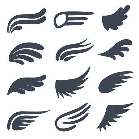 Wing icons. Different shapes of black wings emblems, birds feather heraldic symbol, vintage tattoo element. Angel logo decorative vector flight doodle eagle set 向量圖像