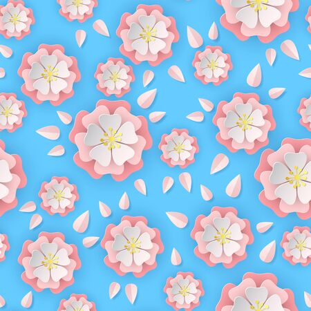 Paper sakura seamless pattern. Floral stylish wallpaper colorful blooming romantic flowers of cherry tree, cut paper origami eastern asian vector texture