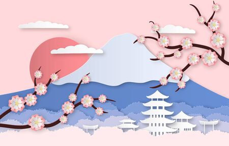 Paper sakura. Panorama landscape with japanese trees, garden flowers and hills. Paper cut style origami asia travel vector vertical cutting background