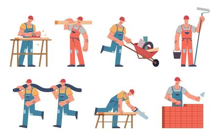 Builders. Engineers, contractors and construction workers in hardhats and uniform with tools and professional equipment. Vector process of building set 向量圖像