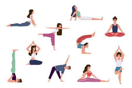 Yoga people. Group of men and women doing yoga exercises, various poses of warming up and healthy stretching, relaxing meditation in gym vector set