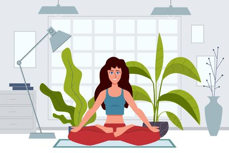 Yoga characters. Woman does exercises warming up and stretching at home, meditation on nature, physical and spiritual practice vector wellness relax active concept