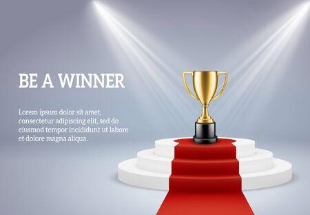 Podium de récompense avec trophée. Scène ronde gratifiante pour le vainqueur d'une compétition sportive ou commerciale sous les projecteurs sur l'image 3d vectorielle de la plate-forme