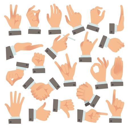 Gestures of businessman. Success people palms and hands, communication stopping holding shaking vector color icon of agreement sign set