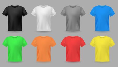 Color t-shirt mockups. Design colorful textile fabric apparel for men and teenagers fashion casual clothes vector set