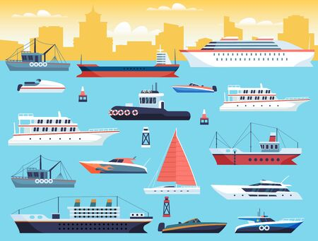 Maritime transport. Shipping dock with big sea or ocean vessel and sail boat, yacht and travel motor cruiser in harbour vector set