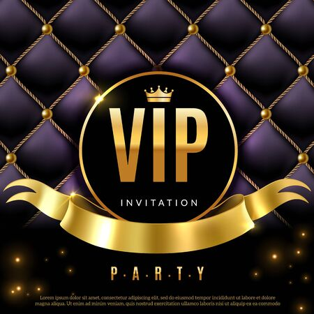 VIP. Luxury invitation coupon certificate with golden letters, exclusive and elegant logo membership in prestige premium club vector luxurious background