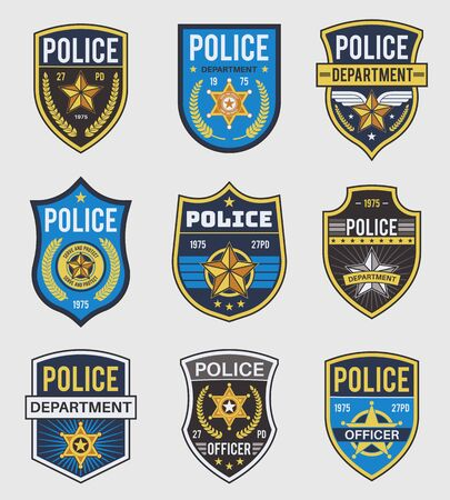 Police badges. Officer government badge, special police security medallion and federal agent signs, policeman insignia vector simple patches set