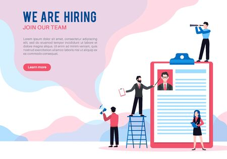 We are hiring. Open vacancy hiring, job offer recruiting and interview people, announcement finding employee social media vector career employers landing page 向量圖像