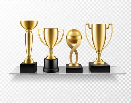 Trophy cup on shelf. Realistic golden cup awards on glass shelves. Championship and business achievement metallic shiny prize trophies isolated vector concept 向量圖像