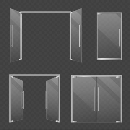 Glass doors. Realistic open and closed double glass mall and store doors. Modern architectural interior and exterior transparent architecture elements vector set