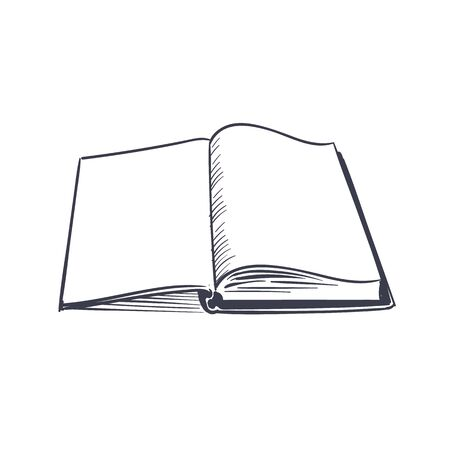 Open book. Small creative black logo of opened top studying page without text for library vector silhouette of dictionary template 向量圖像