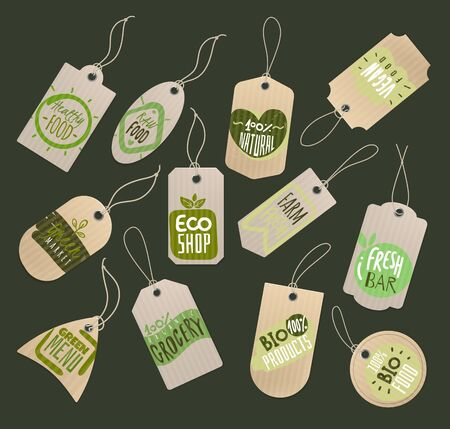Food store labels. Paper tags with logo of healthy fresh organic fruits and vegetables for grocery marketplace or shop vector bio label set 向量圖像