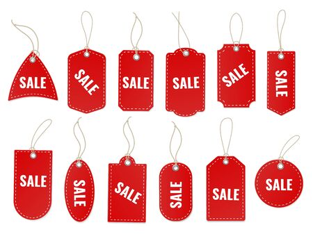 Sale craft labels. Blank red special old paper carton tag with rope and cord for discount shopping design vector different pricing hanging sticker set
