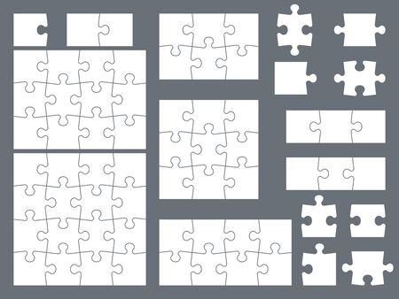 Puzzle pieces. Parts of puzzles for creative game, consistency thinking and solution in assembly of graphic image. Vector shape isolated group of brainteaser templates