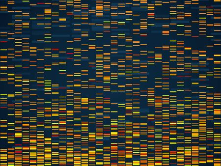 Genomic visualization. Dna genomes sequencing data analysis. Digital internet technology, bioinformatics testing chromosome vector visual texture sequence concept Illustration