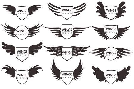 Emblemas alados, símbolos heráldicos de alas de ángel y fénix, signo de marca, certificado y pegatinas, insignias corporativas vectoriales vintage