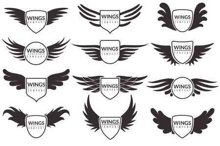 Winged emblems, angel and phoenix wings heraldic symbols, sign for brand, certificate and stickers vintage vector corporate insignia badges
