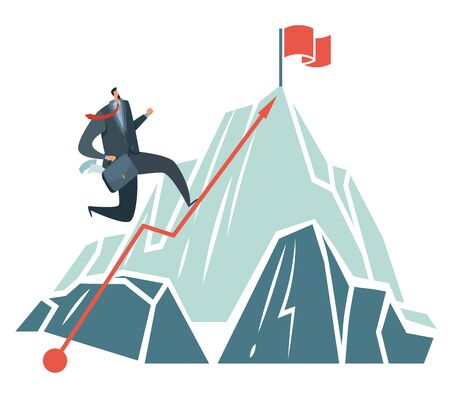 Business achievement. Success ambition businessman climbing path to top of mountain like to perspective target vector opportunity concept