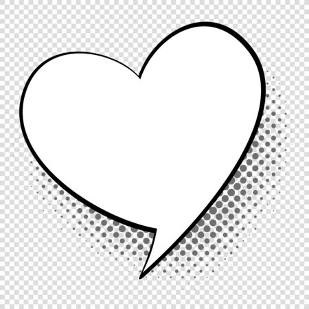 Comic speech heart. Cartoon talking and thought about love bubble. Retro shape vector relations communication concept