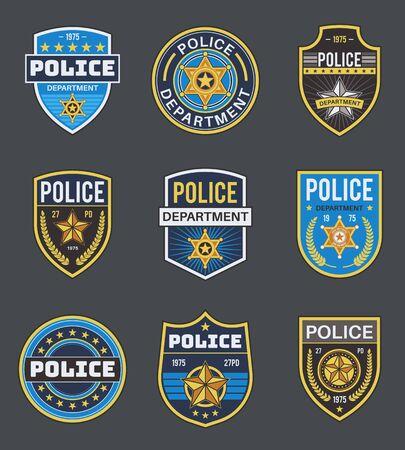 Polizei-Etiketten. Polizeiabzeichen für Strafverfolgungsbehörden. Sheriff, Marschall und Ranger, Polizeisternmedaillons, Sicherheits-Bundesagenten, Vektor-Secure-Emblemabzeichen