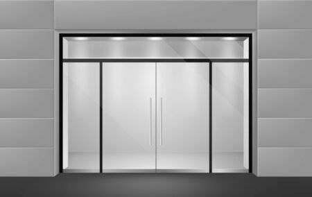 Store front. View from outside to empty shop boutique interior with glass door and big. Supermarket business wall entrance vector mockup