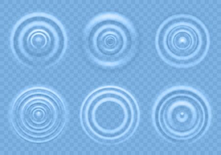 Ripple on blue water. Circular waves of liquid product top view, splash from falling drops, round radial ripples on sea concentric surface vector realistic texture Ilustração Vetorial