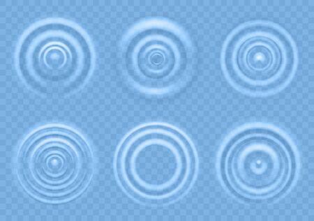 Ripple sull'acqua blu. Onde circolari della vista dall'alto del prodotto liquido, spruzzi di gocce che cadono, increspature radiali rotonde sulla trama realistica del vettore di superficie concentrica del mare Vettoriali