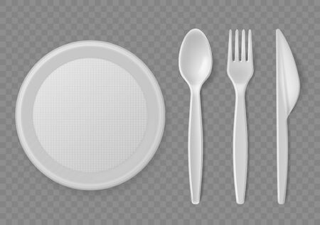 Plastic cutlery. Realistic disposable serving kitchen utensil, plate and spoon, fork and knife, picnic tableware. Kitchenware clean product food tools vector set