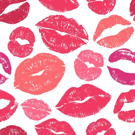 Lips seamless pattern. Colourful womans lips design for fashion cloth and wrapping paper, world kissing and valentines day wallpaper vector lipstick romance glamour print Ilustracja