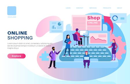 Online shop page. Store media modern design with shopping man and woman for web site of e-commerce smartphone apps vector concept