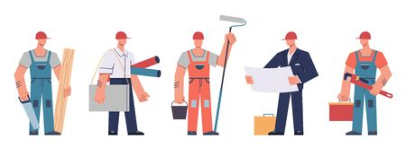 Builders team. Construction engineers, contractors and architects, technicians and professional builders with tools, cartoon vector engineering isolated people concept Vetores
