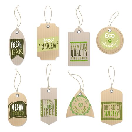 Eco cardboard labels. Paper craft shop product tag with sticker printing green design and rope, bio recycled isolated vector set