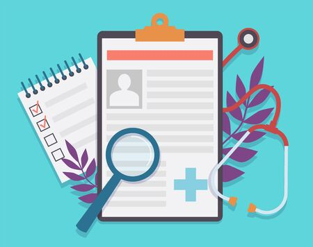 Medical record. Patient card medical history and diagnosis, medicine checklist with checkbox. Healthcare insurance service vector healthy document concept