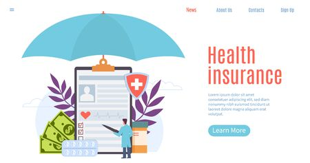 Health insurance. Healthcare, patient insurance, human life protection. Treatment benefits, emergency service website page vector hospital applications forms design