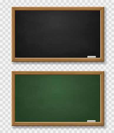 Blackboard. Realistic green and black chalkboard with wooden frame and chalk, blackboards template for school classroom or restaurant 3d vector set