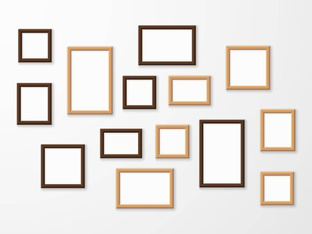 Wooden frame. Wood blank picture frames in different sizes on wall. Museum gallery mockup design, advertising painting image templates collage vector set