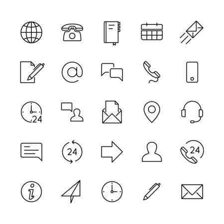 Contact line icons. Support service, mobile phone, email and website, location address. Computer user different web vector symbols of mail and communication