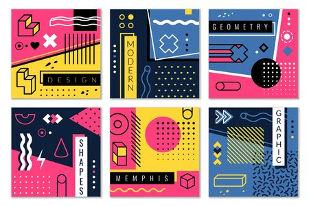 Abstract geometric background. Modern graphic shapes in memphis style, colourful stripes and dots vector minimal design for poster, cover and card template